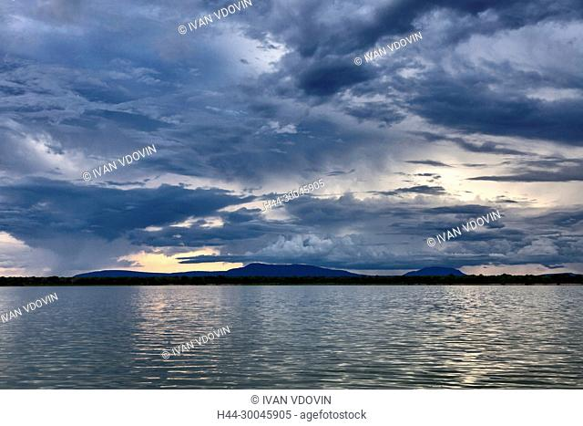 Lake sunset landscape, Tanzania, East Africa