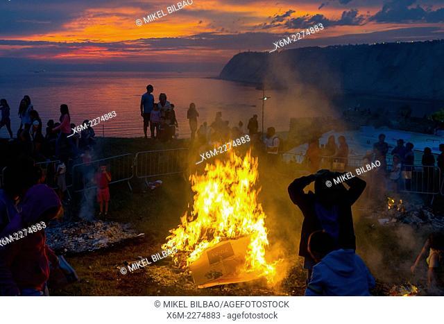 Bonfires of Saint John. Arrigunaga beach . Algorta, Getxo. Biscay, Basque Country. Spain, Europe