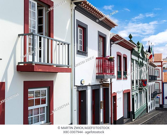 The typical facades of the houses in the historic center. Capital Angra do Heroismo, the historic center is part of UNESCO world heritage