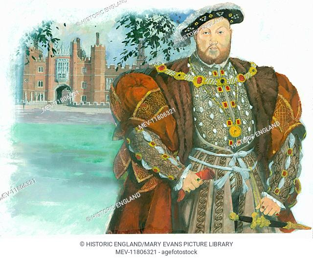 King Henry VIII of England, based on the portrait of Henry by Hans Holbein the Younger. In the background is the gatehouse of his residence