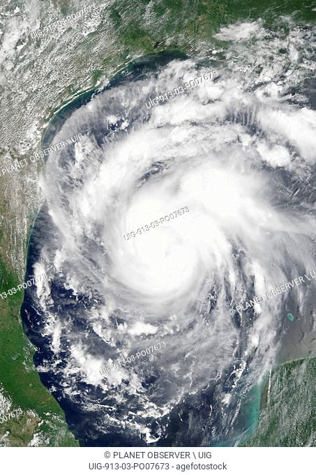 Hurricane Harvey over Gulf of Mexico in 2017