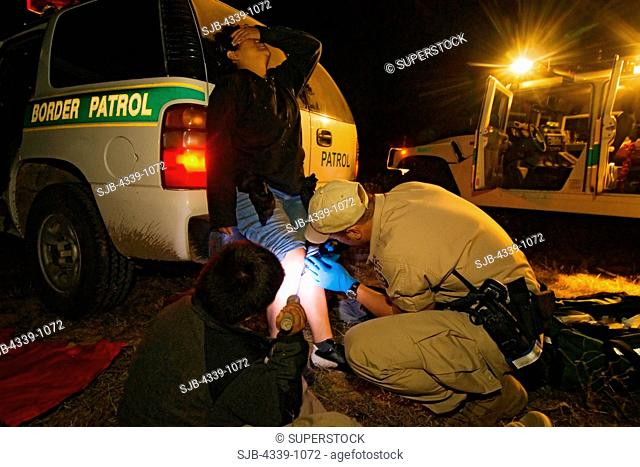 Jason Wood treats injuries of a recently caught illegal border crosser in the Laredo area. He is a first responder and deals with any issues of injury or...
