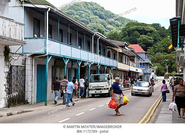 Shops on Independence Avenue, Victoria, Mahe Island, Seychelles, Indian Ocean, Africa