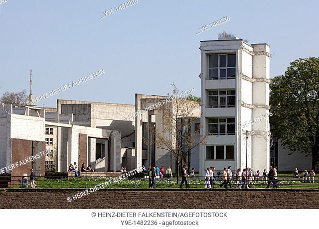 Garden of Memories by Dani Karavan and the Jewish community centre, Innenhafen, Inner Harbor, Duisburg, North Rhine-Westphalia, Germany, Europe
