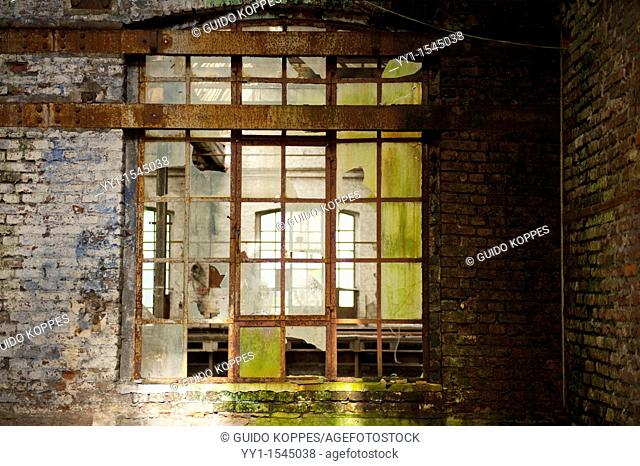 Val Saint Lambert, Belgium. Interior window in an abandoned factory for luxurious crystal products