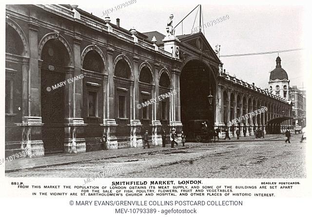 Smithfield Market, London - at the time, London's principal meat market. Situated close to St. Bartholomew's Church and Hospital