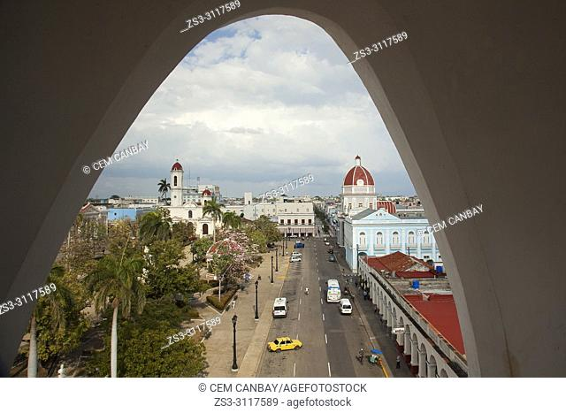 Framed view from above to the Purisima Concepcion Cathedral and to the Goverment House-Palacio del Gobierno in Jose Marti Park at the historic center