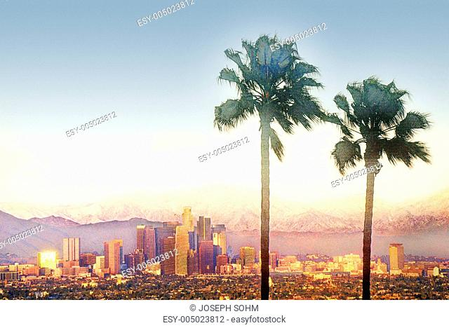Digitally altered view of Los Angeles, CA skyline
