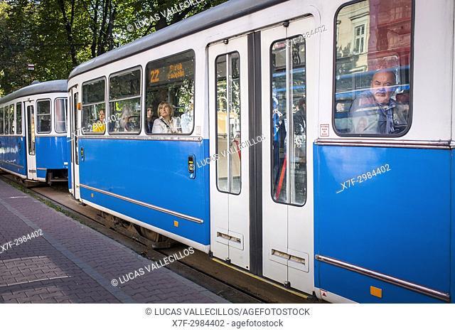 Tram, in Dietla street, Krakow, Poland