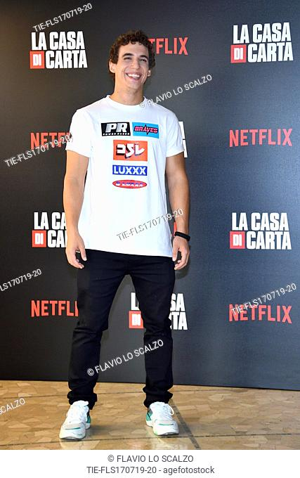 Miguel Herran during photocall for the presentation of Spanish TV show 'La Casa de Papel' in Milan, Italy, 17 July 2019