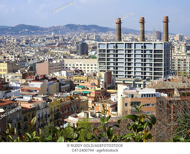 Three chimneys. Remains of old textile industry. Barcelona, Catalonia, Spain