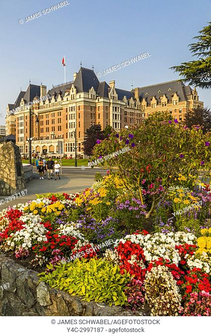 The Fairmont Empress Hotel in Victoria known as the Garden City on Vancouver Island in British Columbia, Canada