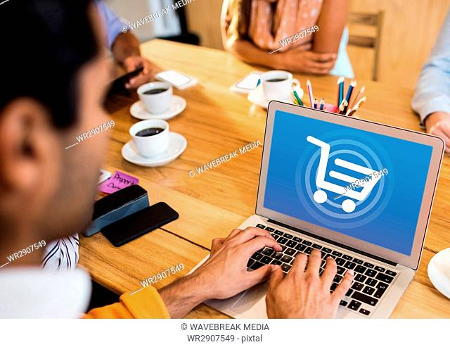 Person using Laptop with Shopping trolley icon