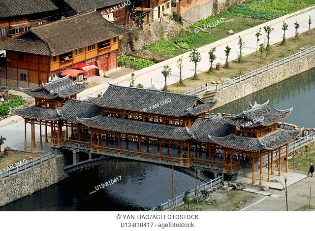 The biggest miao Minority village in China,the call village of thousand miao minority house