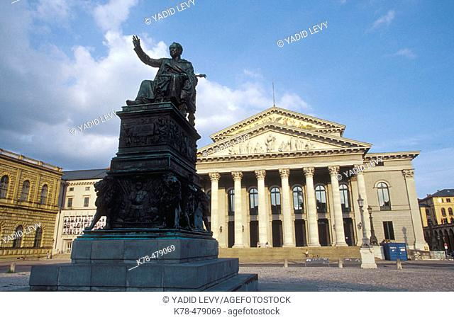 Germany, Bavaria, Munich. Max I Joseph monument and National Theatre home to the Bavarian state opera at Max Joseph Square