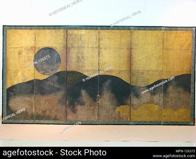 Musashino/Mount Yoshino. Artist: Unidentified Artist; Period: Edo period (1615-1868); Date: 17th century; Culture: Japan; Medium: Six-panel folding screen; ink