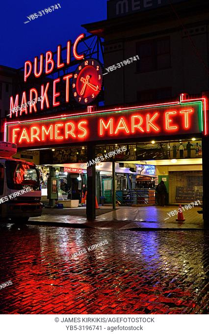 The Public Market in Seattle reflects on a typical rainy day