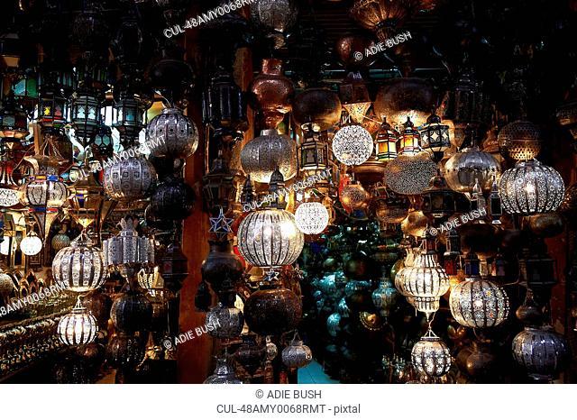 Ornate metal lanterns for sale in market