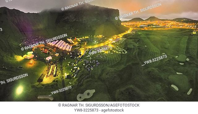 Til Solu Thjodhatid Festival, Heimaey, Westman Islands, Iceland. National annual outdoor festival with bond fires, fireworks, music and stage performances