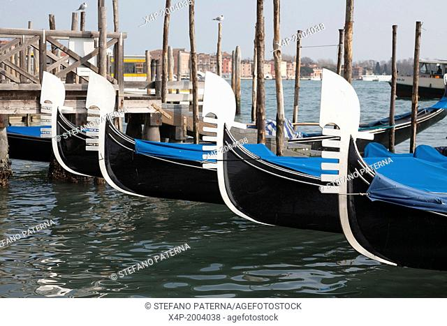 Row of Gondolas, Venice, Italy