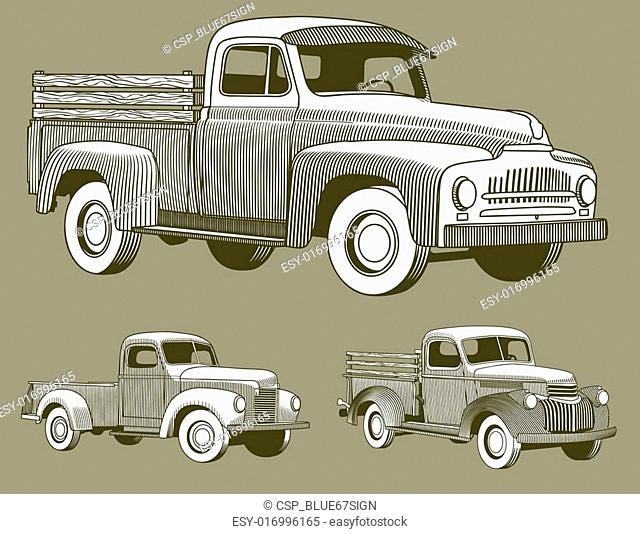 Woodcut Vintage Trucks