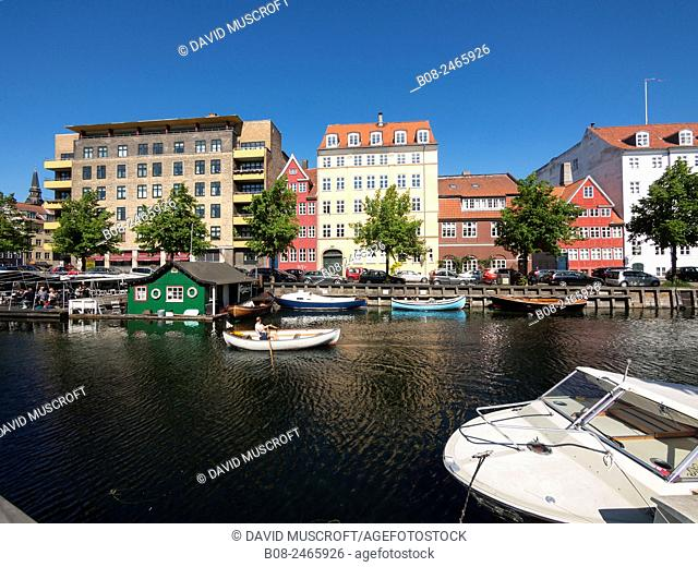 Modern apartments and boats at Christianshavn harbour area,Copenhagen,Denmark