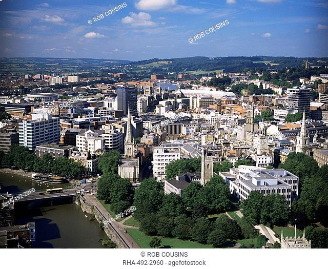 View over centre of city, Bristol, England, Unnited Kingdom, Europe