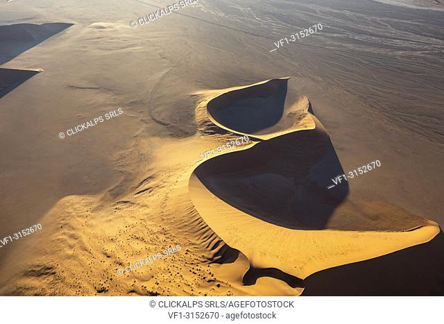 Aerial view of the sand dunes of Sossusvlei at sunset,Namib Naukluft national park,Namibia,Africa