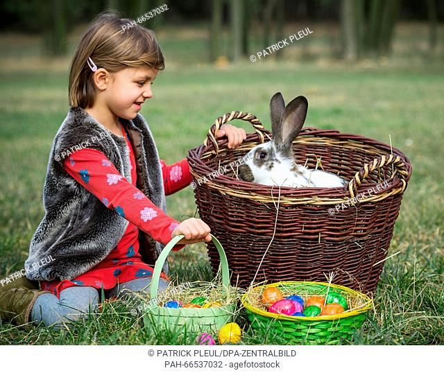 ILLUSTRATION: The five-year-old girl Mia knees on a meadow with a rabbit and an Easter basket full of colored eggs in Sieversdorf (Brandenburg), Germany