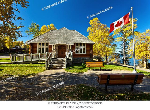 Park administrative building in Waskesiu townsite in Prince Albert National Park, Saskatchewan, Canada