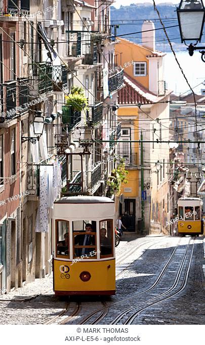 Elevador de Bica, old funicular railway, Lisbon, Portugal, Europe ©Mark Thomas / AxiomLisbon, Portugal