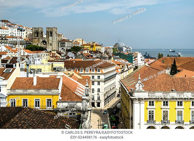 Panoramic of Lisbon downtown, Portugal