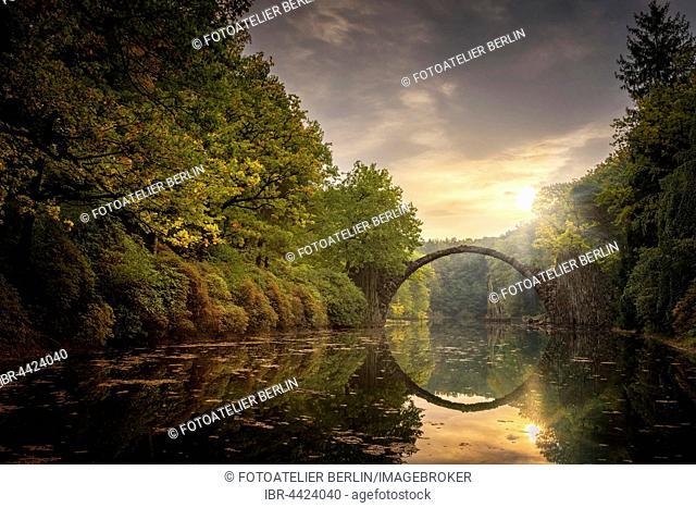 Rakotzbrücke or Teufelsbrücke, bridge in Kromlauer Park, Kromlau, Saxony, Germany