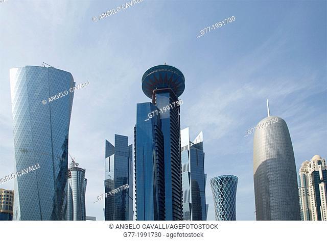Modern buildings in downtown Doha, Qatar