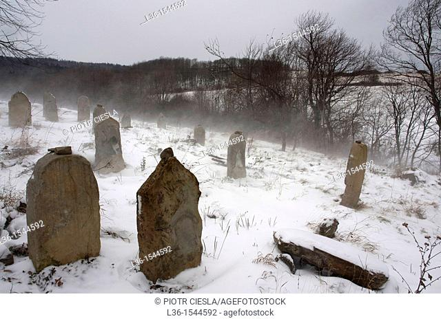 Baligrod town in the Bieszczady mountains. Southeastern Poland. The Jew cemetery