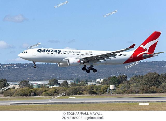 Qantas Airbus A330-303 landing, Perth Airport, Western Australia