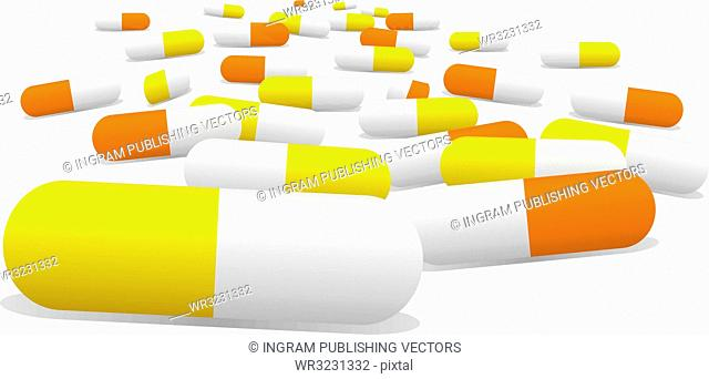 Illustrated pills selection in yellow and orange with a sense of perspective