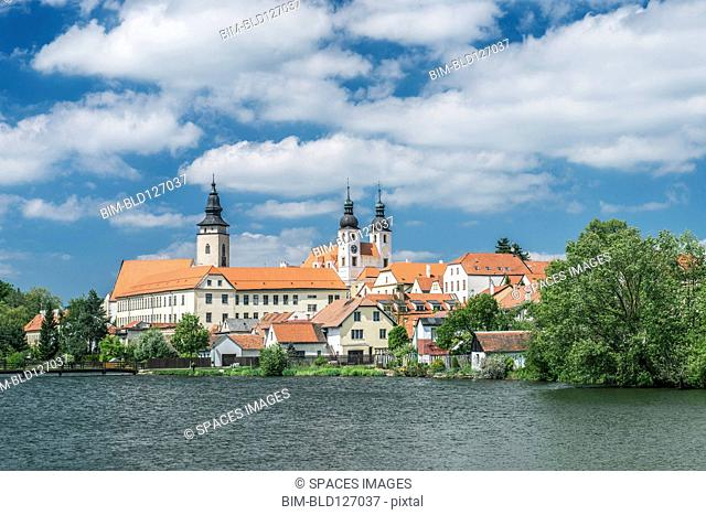 Strahov Monastery on lake, Prague, Central Bohemia, Czech Republic