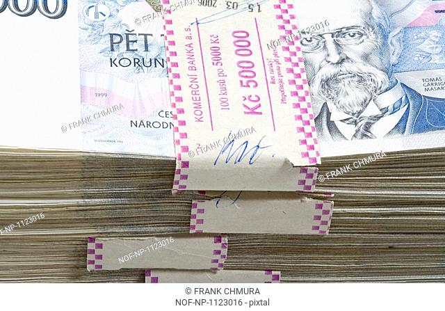 A stack of Czech Banknotes