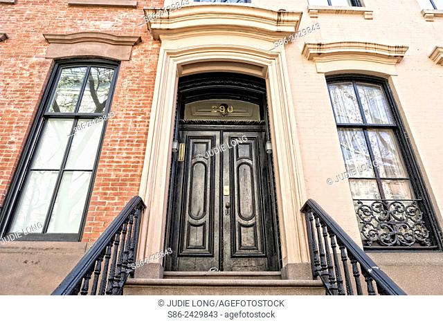 Elegant front entry double doors on a Greenwich Village, New York City, Federal Style Town House