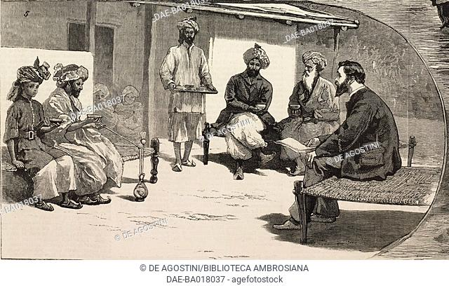 Tea time, the end of the Second Anglo-Afghan War, illustration from the magazine The Graphic, volume XX, no 502, July 12, 1879