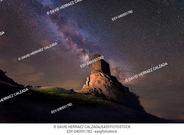 Milky way over Zafra castle in Guadalajara, Spain