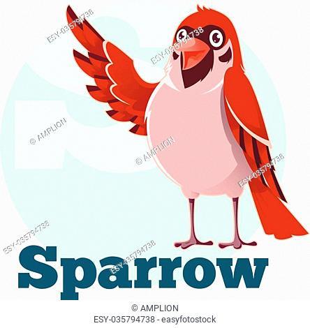 Vector image of the ABC Cartoon Sparrow2