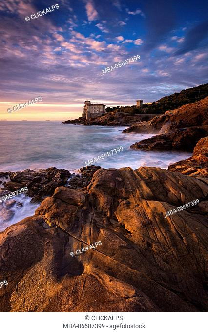Europe, Italy, Boccale Castle at Sunset, province of Livorno, Tuscany