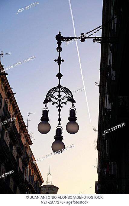 Streetlamps at Ferran Street. Barcelona, Catalonia, Spain, Europe
