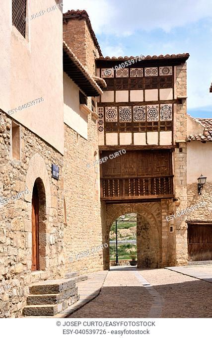 facade of convent and Las Monjas door, Mirambel, Maestrazgo, Castellon, Conunidad Valenciana, Spain