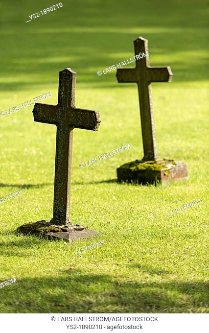 Graves with christian cross