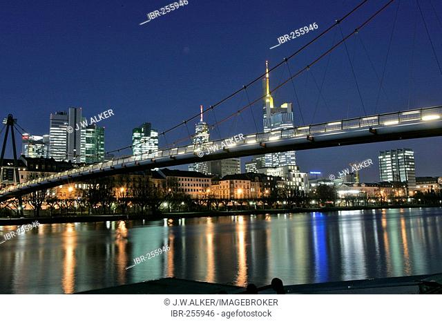 Skyline and river Main at night, Frankfurt, Hesse, Germany