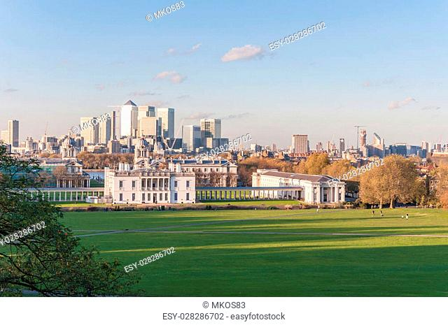 View of Canary Wharf from Greenwich Hill in London