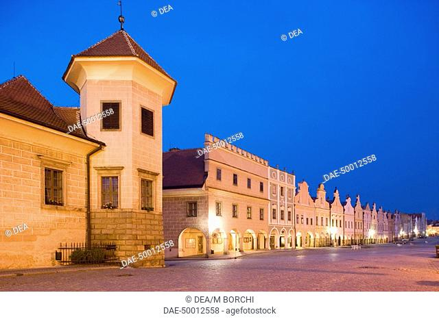 Czech Republic - Southern Moravia - Telc. UNESCO World Heritage List, 1992. Zacharias of Hradec Square (Namesti Zachariase z Hradce) and Castle (Zamek) on left